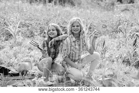 Agriculture Concept. Growing Vegetables. Planting Vegetables. Summer Activity. Sisters Cute Kids Hel