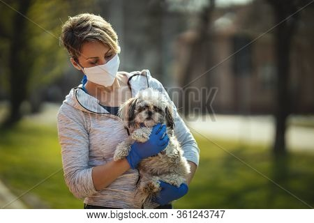 A Woman In A Medical Protective Mask Is Spending Time With Her Dear Cute Little Shih Tzu Dog On The