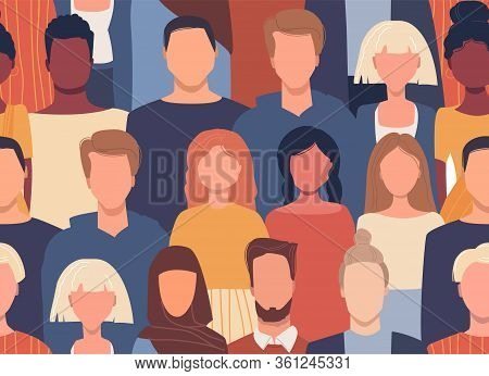 Vector Seamless Pattern In Flat Style With People Of Different Nationalities, Cultures. Global Socie
