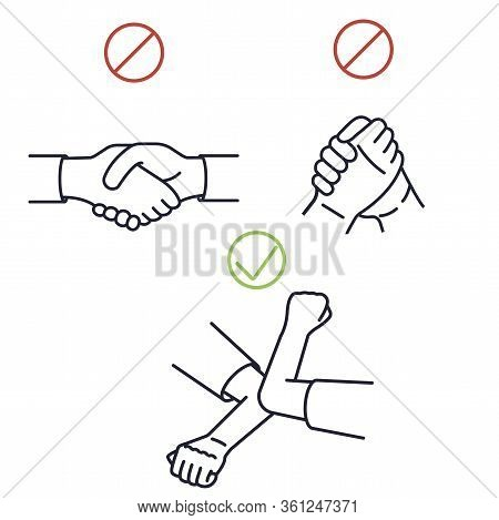 Greeting Hit Your Elbow. Elbow Bump. Safe Greetings. Methods To Prevent Transmission Of Infection, V
