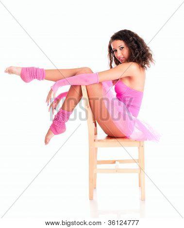 Dancer Black Girl Sitting On The Chair In Ballet Tutu