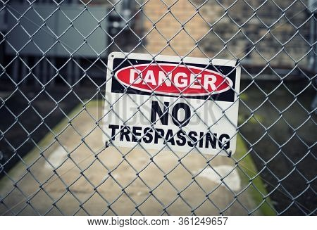 View Of No Trepassing Sign, Chicago, Usa