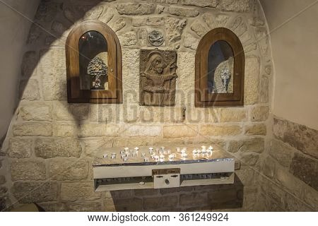 Bethlehem, Palestinian Authority, January 28, 2020: Interior Fragment With Place For Lighting Candle