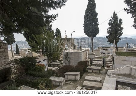 Bethlehem Israel January 28, 2020: Cemetery Of The Chapel Of The Milk Grotto Also Called Milk Grotto