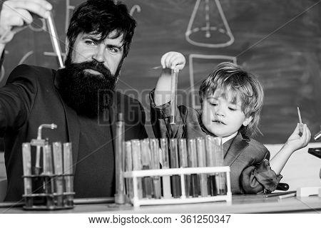 Chemical Experiment. Genius Minds. Genius Toddler Private Lesson. Teacher Child Test Tubes. Genius K