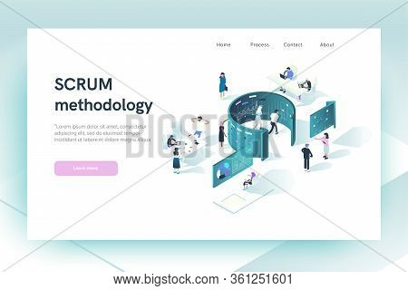 Web Site Design Template. Header.  Scrum Methodology Concept. Illustration Shows How People Interact