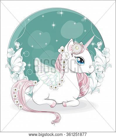 Beautiful Princess Unicorn With Wings In Magic White Flower Garden. Picture In Hand Drawing Cartoon