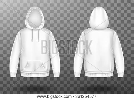 Hoody, White Sweatshirt Mock Up Front And Back View Set. Isolated Hoodie With Long Sleeves, Kangaroo
