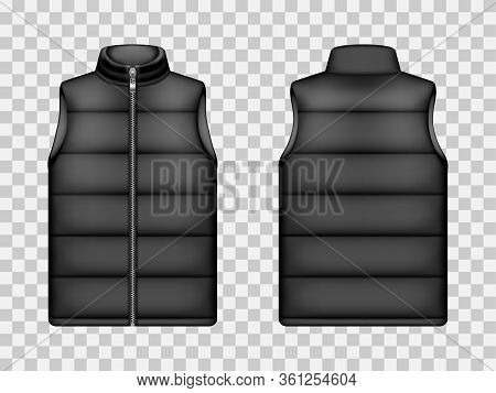 Sleeveless Jacket, Puffer Vest. Black Down Waistcoat Front And Back View. Vector Realistic Mockup Of