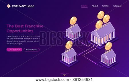 Franchise Opportunities Isometric Landing Page. Franchising Business Branch Expansion, Marketing Sys