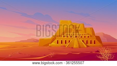 Egypt Mortuary Temple Of Queen Hatshepsut In Deir Al-bahri, World Famous Egyptian Landmark In Desert
