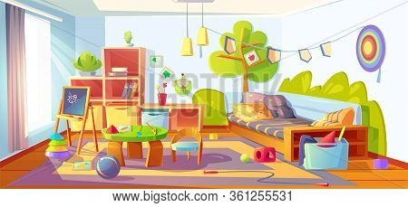 Mess In Kids Room, Messy Empty Child Bedroom Interior With Unmade Bed And Scattered Toys On Carpet.