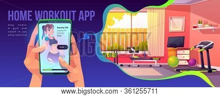 App For Home Workout Banner. Human Hands Holding Smartphone With Sports Application Interface And Fi