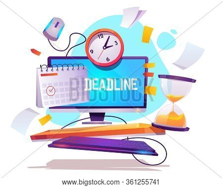 Deadline In Work. Concept Of Appointment Event On Due Date And Schedule. Vector Cartoon Illustration