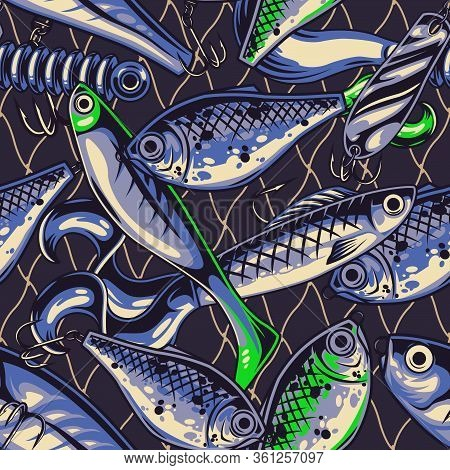 Fishing Lures Vintage Seamless Pattern With Spoon Twister Wobblers Plastic Artificial Accessories Ve
