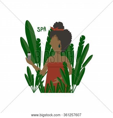 Illustration Of A Beautiful Girl In The Foliage Of A Palm Tree, Spa. Young Woman In Tropics, Spa. Pe
