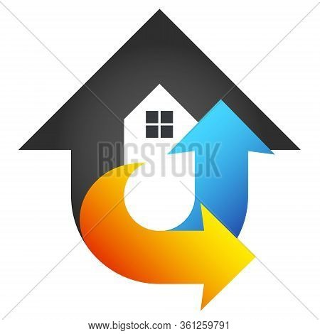 Air Conditioning House Heating And Cooling Red And Blue Arrows Symbol