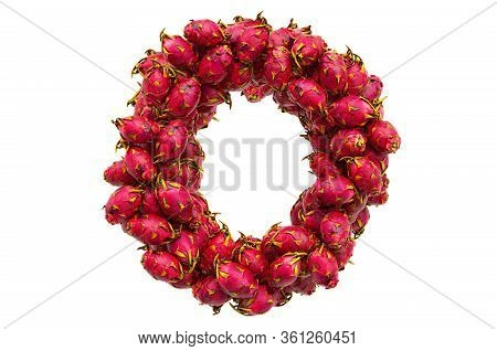 Letter O From Dragon Fruits, 3d Rendering Isolated On  White Background