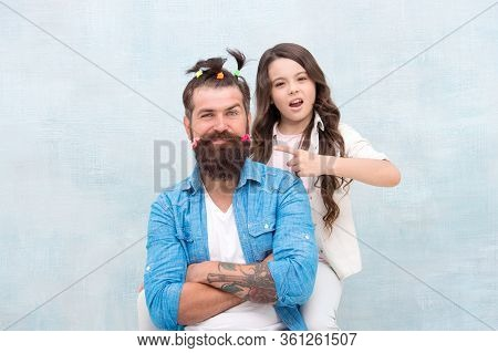 Making Me Happy. Daughter Creating Fathers Hair. Handsome Father With Little Girl. Happy Father And