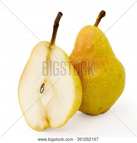 One Pear And Pear Half Isolated On White