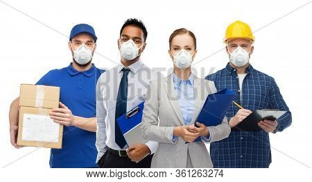 health care, quarantine and business concept - group of people of different jobs wearing protective medical masks for protection from virus