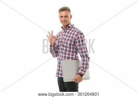 Three Steps To Success. Mobility For Better Life. Handsome Man Hold Laptop Isolated On White. Laptop