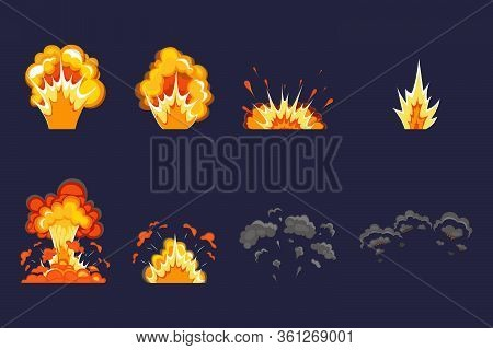 Explosion Effect With Smoke, Flame And Particles. Dynamite Explosion, Atomic Bomb, Smoke After The E