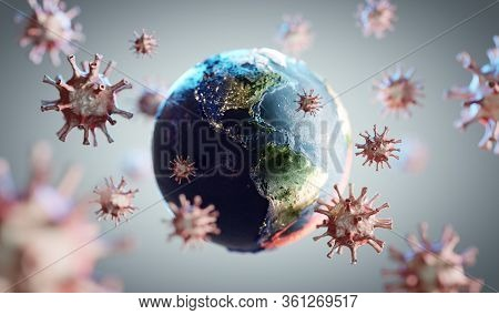 Coronavirus COVID-19 attacking world. News about corona virus concept. 3D render
