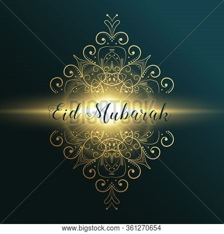 Eid Mubarak Muslim Festival Greeting Card Design With Floral Decoration