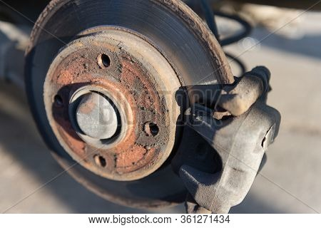 Brake Drive On The Car. Brakes During The Replacement Of The Wheels. Service Brakes In The Service S