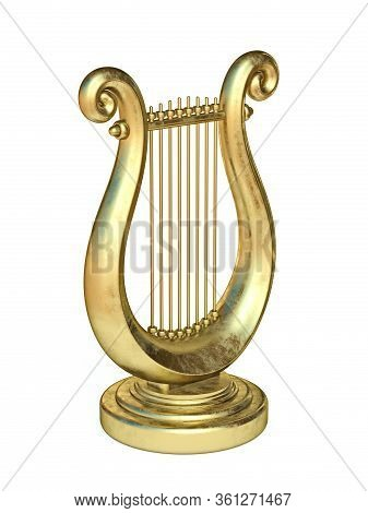 Golden Lyre 3d Render Illustration Isolated On White Background