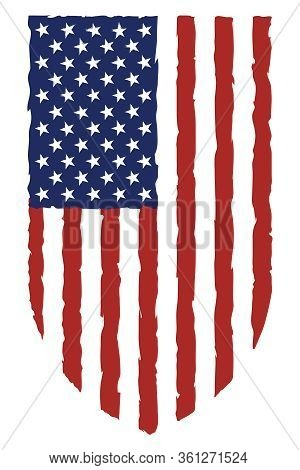 Usa Flag Grunge Destroyed Grunge Style Bars And Stars