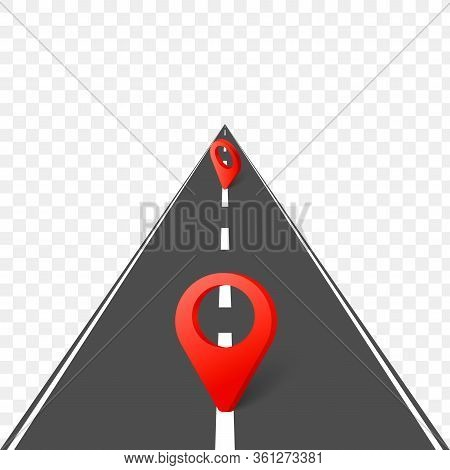 Highway Roadmap With Pins. Vector Illustration Eps10