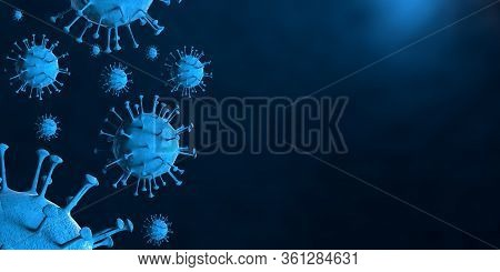 3D Illustration Coronavirus Covid-19 Virus Under Microscope In Blood Sample