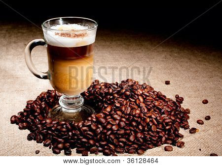 Cappuccino Glass With Coffee Beans