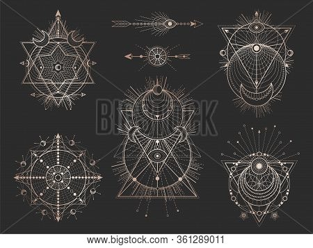 Vector Set Of Sacred Geometric Symbols And Figures On Black Background. Abstract Mystic Signs Collec