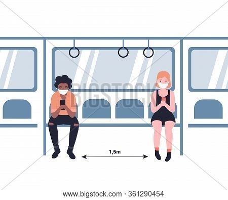 People In Masks Ride The Subway, Metro, Bus, Train. Social Distance 2m. Male And Female Characters I
