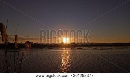 Beautiful Sunset At Invercargill South Island New Zealand