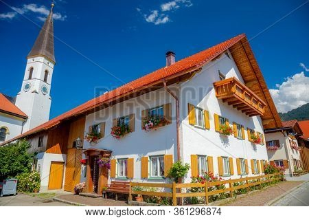 Picturesque old european village with historical chirch and house, Germany, Bavaria