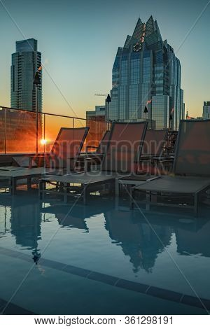 Austin, Texas Usa - January 27, 2020: View Of The Rooftop Pool And Downtown Skyline With The Landmar