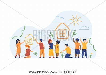 Children Drawing Home With Crayons. Multiracial Group Of Kids Painting Multicolored Pictures. Vector