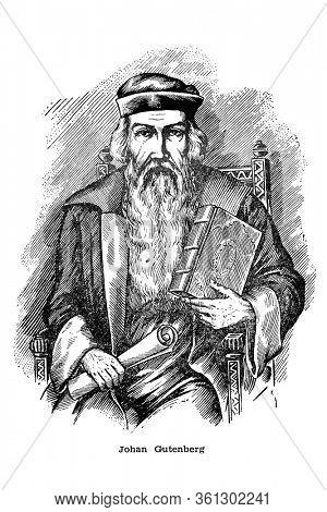 Antique engraving of Johannes Gutenberg. German goldsmith and printer, printign inventor, vintage illustration from printing handbook 1897.