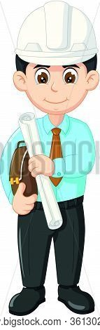 Handsome Architect In Blue Shirt, Black Pant, And White Helmet Hold Paper And Brown Bag Cartoon Vect