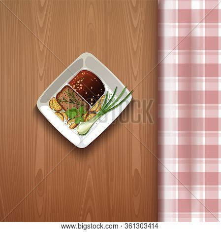 Fried Potatoes In Rustic Style With Green Onions And Black Bread. French Fries On A Wooden Table Wit