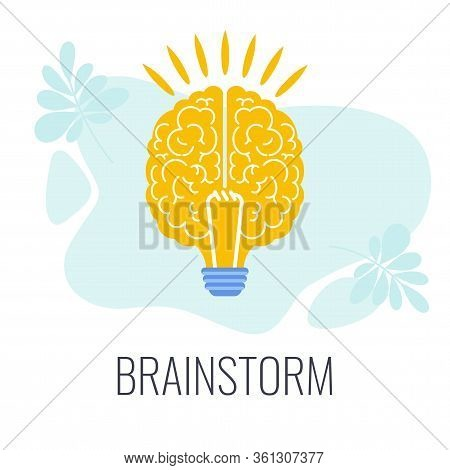 Brainstorming Icons. Brain Is Like Bright Lightbulb. Creative Technique For Generating Ideas, New So