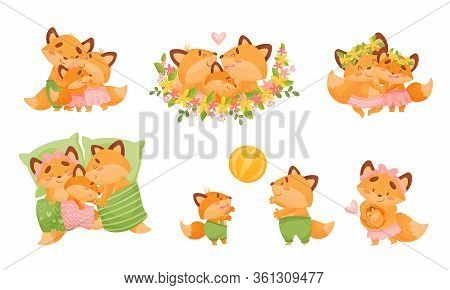 Happy Fox Family With Father Fox Playing Ball With His Little Cub Vector Set