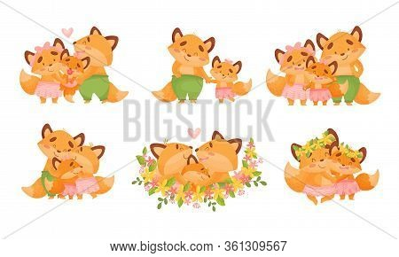 Happy Fox Family With Father Fox Walking With His Little Cub Vector Set