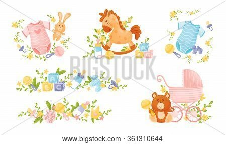 Baby Attributes And Toys With Rattles And Abc Cubes Vector Set