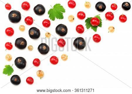 Mix Of Red Currant And Black Currant With Green Leaf Isolated On A White Background. Healthy Food. T