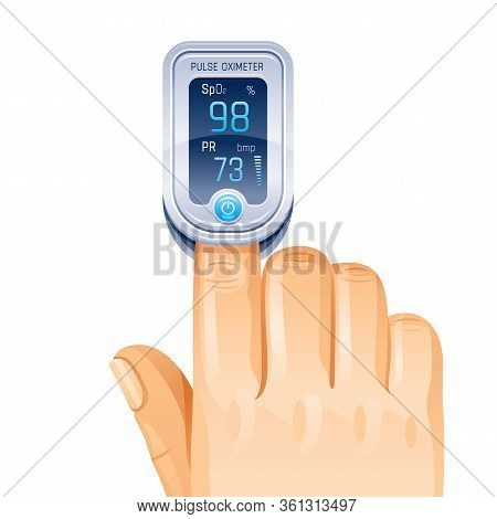 Pulse Oximeter, Finger Medical Device Icon. Corona Virus Covid Protect Equipment. Medical Health Ico